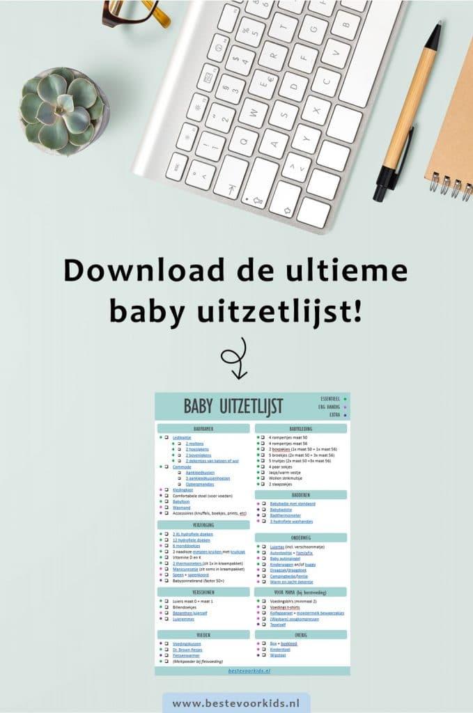 Zwanger van je eerste kindje? Download hier de ultieme baby uitzetlijst met alle essentiële en handige babyspullen op een rij! #baby #uitzetlijst #babychecklist